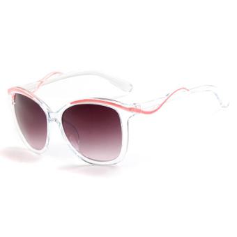 Fashion gaya Women Colorful bingkai kacamata Wanita anti-UV Sunglasses (Pink grey)