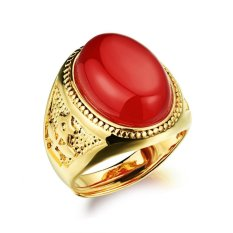 Fashion Warna Emas Pria Cincin W/Stone Big Ring Adjustable Hitam/Merah/Hijau Fashion Pernikahan Cincin Man Perhiasan-Intl
