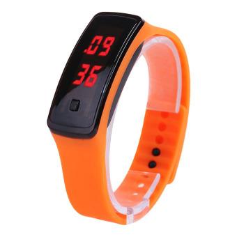 Fashion Wanita Olahraga Digital LED Layar Sentuh Tali Jam Karet Silikon (Oranye)?