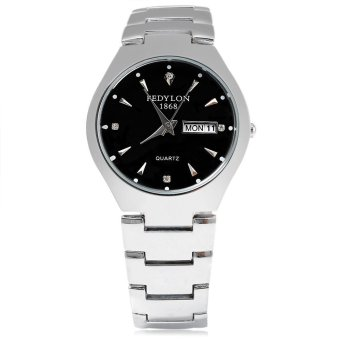 FEDYLON 1868 F480 Male Quartz Watch Artificial Diamond Dial Complete Calendar Water Resistance Wristwatch (BLACK)