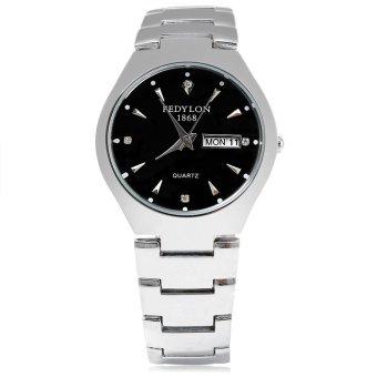 FEDYLON 1868 F480 Male Quartz Watch Artificial Diamond Dial Complete Calendar Water Resistance Wristwatch (BLACK)