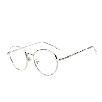 Perempuan Umum Kacamata Flat Circle Round Logam Sunglasses (Silver)-Intl 9e8d978618