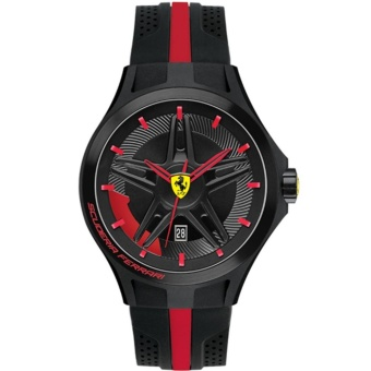Ferrari Jam Tangan Pria Ferrari 0830160 Lap Time Black and Red Rubber Watch