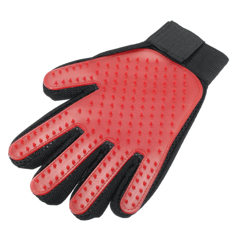 Five finger Massage Glove Cat and Dog Cleaning Product Pet CombBrush red right hand - intl