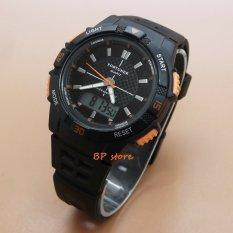 Fortuner Dual Time - FR JA-910 - Jam Tangan Sport Wanita - Rubber Strap - Black Orange
