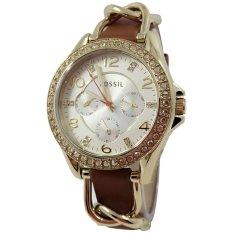 Fossil ES3723-C Jam Tangan Wanita Strap Leather Gold Coklat