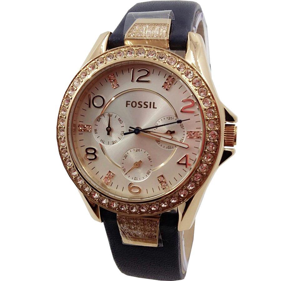 Fossil Boyfriend Jam Tangan Wanita Stainless Biru Es3820 Original Es4093 Perfect Blue Flash Sale Es3887 Chronograph Mewah Frame Diamond Strap Leather