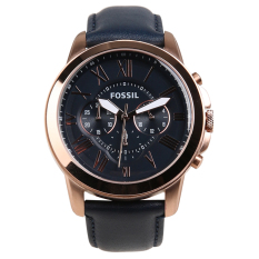 Fossil Grant Chronograph Leather Men's Watch - Navy