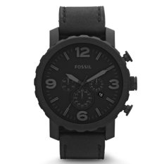 Fossil Jam Tangan Pria Fossil JR1354 Nate Chronograph Black Leather Watch