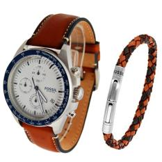 Fossil Watch Sport 54 Chronograph Brown Stainless-Steel Case Leather Strap Mens NWT + Warranty CH3090SET