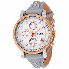 Fossil Women's Original Boyfriend Chronograph Leather Watch - Silver ES 4045