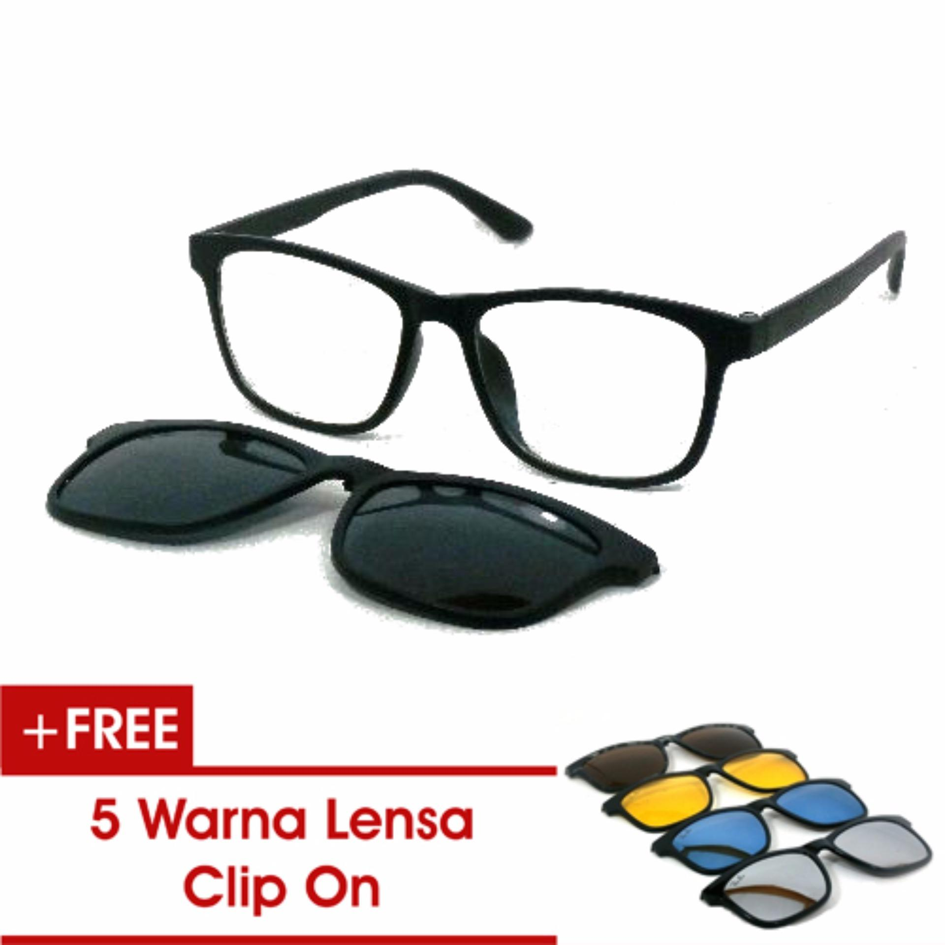 ... Frame Kacamata Baca Minus Anti Radiasi Komputer Clip On 5 Lensa Warna  Sunglass Polaroid Night View ... 2a91623654
