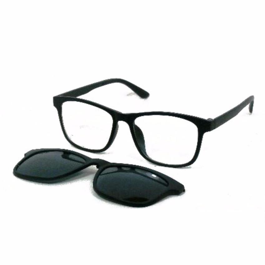 ... Frame Kacamata Clip On Gratis 5 Lensa Warna Sunglass Polaroid Night View Bisa Ganti Lensa Minus