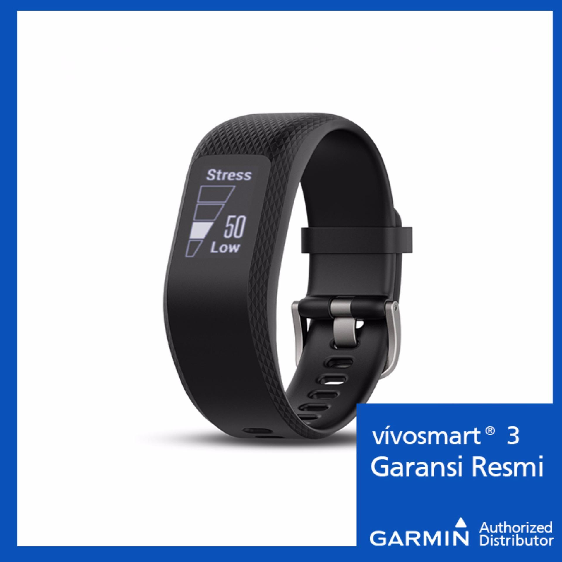 Garmin Vivosmart 3 Black - Pelacak Aktivitas Hitam .