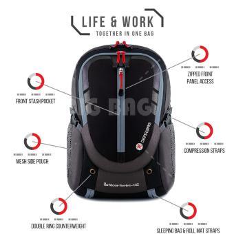 Gear Bag - Rebellion K2-SO Tas Laptop Backpack - Black Grey + Raincover +