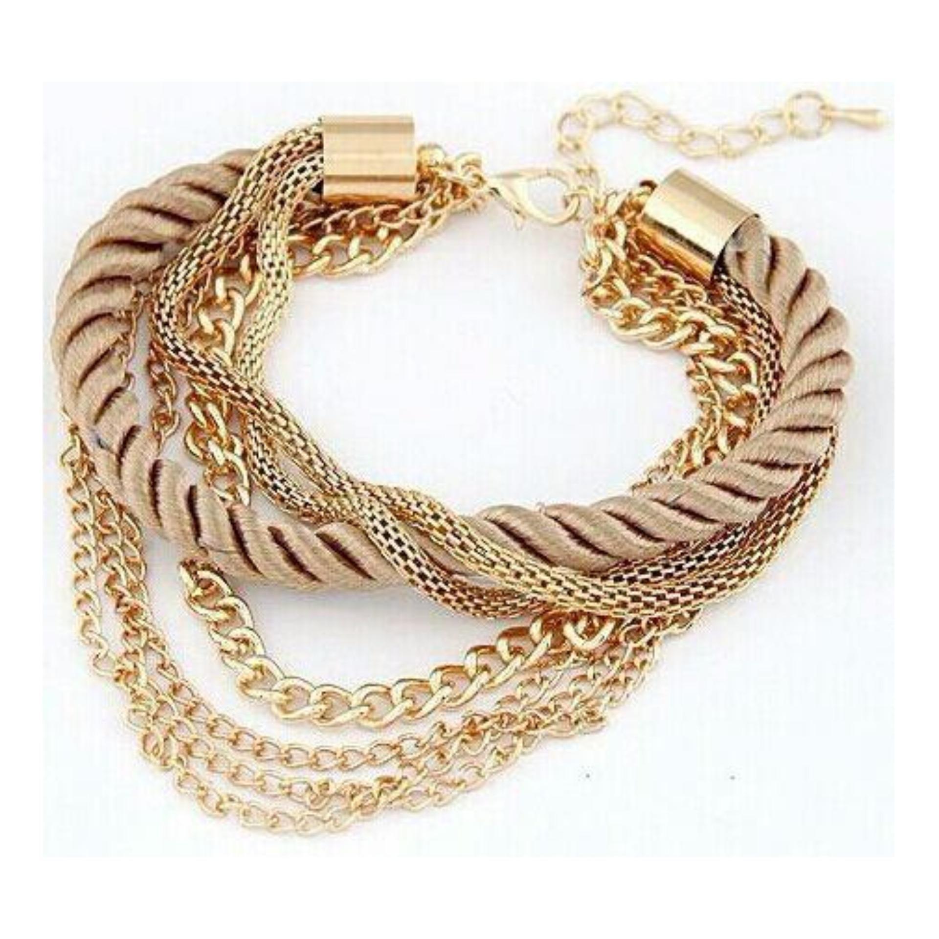 Flash Sale Gelang Bohemia 18K Gold Plated Rope Weave Tassel Bracelets Charm Multilayer Bracelets Bangles Statement