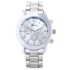GENEVA Jam Tangan Wanita Analog Fashion Casual Women Strap Stainless Steel Wrist Quartz Watch - Silver