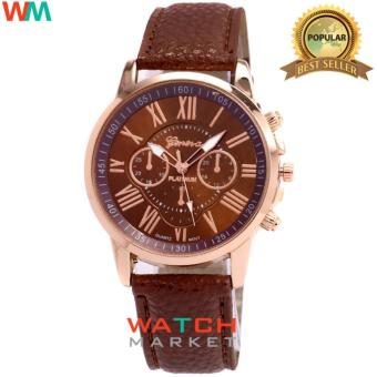 Geneva - Jam Tangan Wanita Strap Kulit Sintetis Woman Leather 001 - Brown