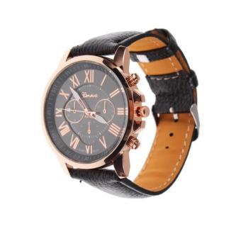 Geneva wanita busana Roman angka Faux kulit Analog Quartz jam tangan - hitam. >>>>