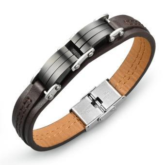 Colorful Rainbow Leather Bracelets For Men & Girls Fashion Source · Genuine Leather Bracelet Men Stainless Steel Leather Men Punk Bracelet Pulseiras ...