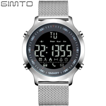GIMTO GM307 Men Sport Watch Digital LED Stopwatch Waterproof Clock Running Military Shock Watches Pedometer Smartwatch Silver - intl