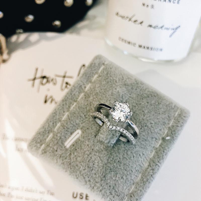 Gog Cinta Jepang dan Korea Selatan zirkon penuh berlian cincin