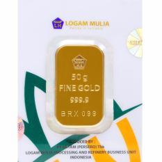 Gold Logam Mulia Antam 50 Gram (Kemasan New Press) - 24 Karat Sertifikat Resmi Antam - Emas Asli - Bergaransi - Istimewa - Cetakan Terbaru Tahun 2017 - Gratis Voucher Carrefour Senilai Rp1.000.000