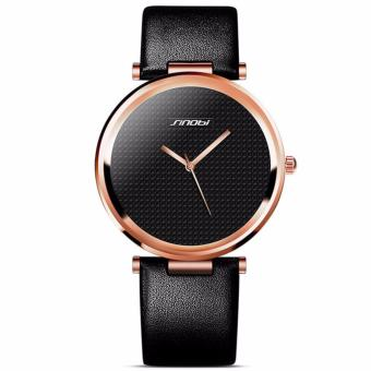 Great SINOBI 9393 New Fashion Minimalist Women's Rose Wrist Watches Leather Watchband Luxury Brand Simple Ladies Geneva Quartz Clock 2017 - Black Gold - 5