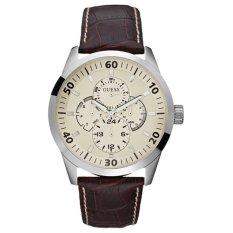 Guess - Jam Tangan Pria - Silver-Putih - Strap Coklat Tua - W95046G1