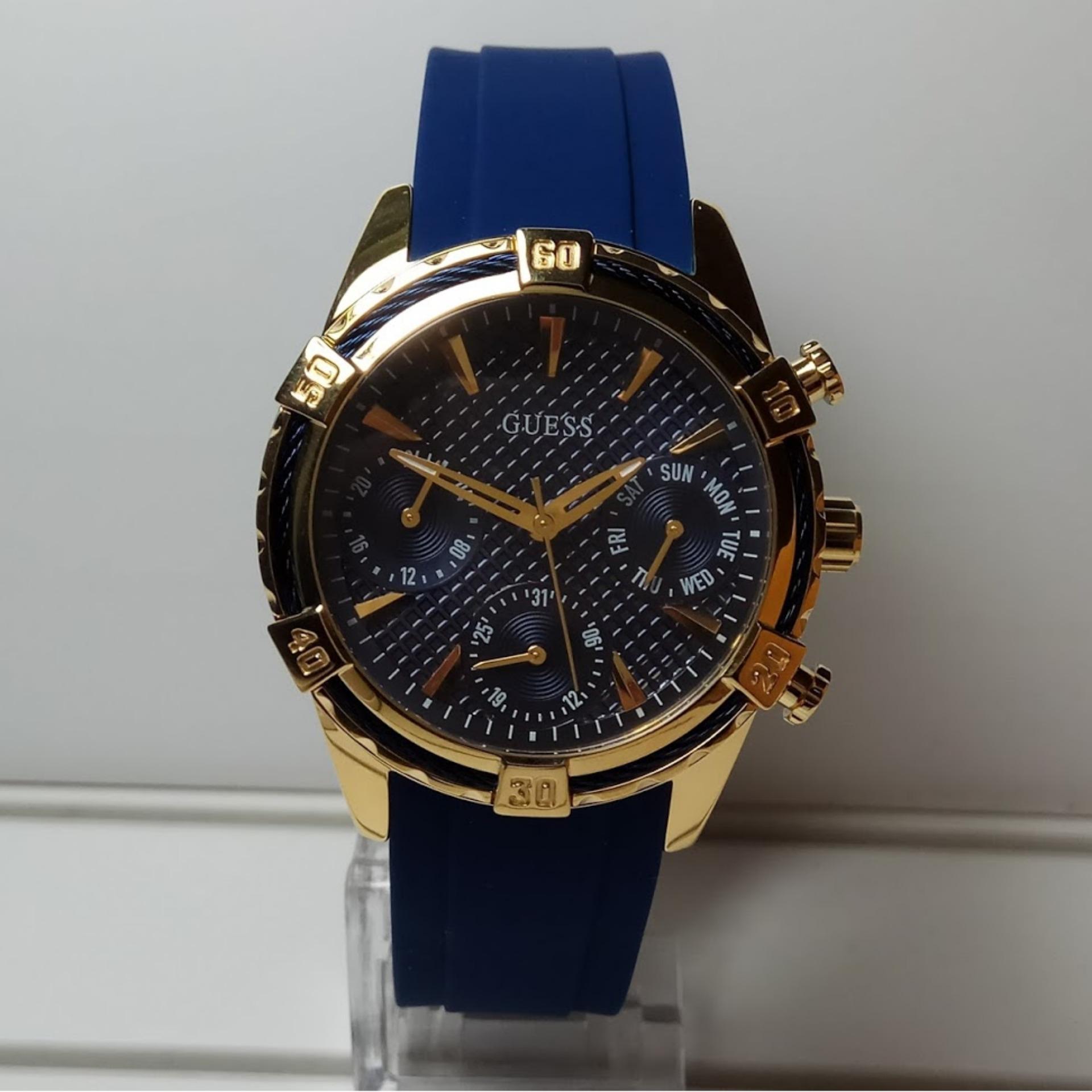 Guess W0562l2 Chronograph Jam Tangan Wanita Biru Karet Daftar W0231l6 Multifunction Gold Stainless Steel Catalina Blue Silicone Watch