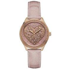 Guess - Jam Tangan Wanita - Rosegold-Rosegold love - Strap Pink -Ring Diamond-W0698L2