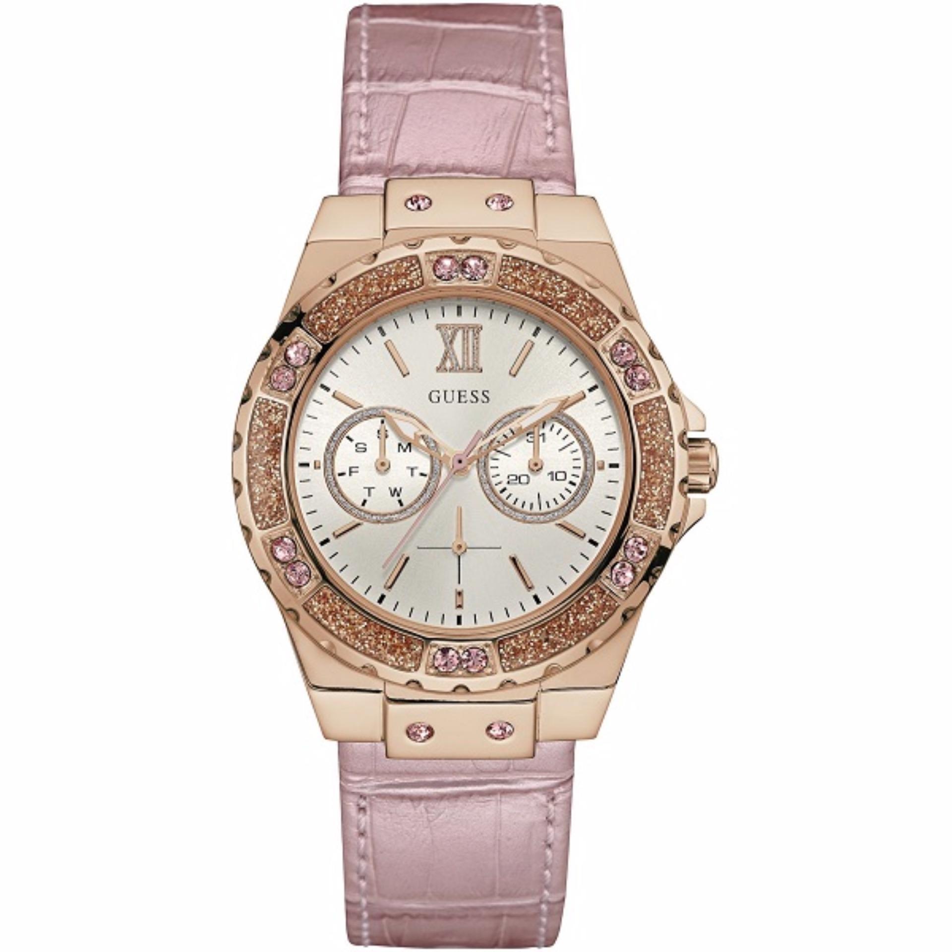 Guess Premium Jam Tangan Wanita Stainless Steel W0479g3 Spec W0231l6 Multifunction Biru Gold Strap Pink W0775l3