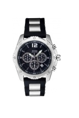 Guess W0167G1 Chronograph - Jam Tangan Pria - Silver Hitam - Stainless steel