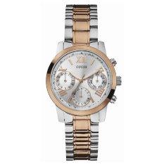 Guess W0448L4 Chronograph - Jam Tangan Wanita - Silver Rosegold - Stainless Steel