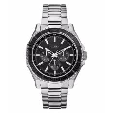 GUESS W0479G1 - Unplugged - Multifunction - Jam Tangan Pria - Bahan Tali Stainless Steel - Silver - Dial Hitam