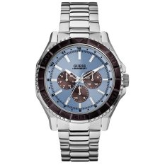 Guess W0479G2 - Jam Tangan Pria - Silver / Biru / Ring Coklat - Stainless Steel