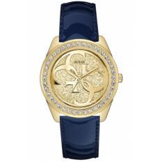 GUESS W0627L10 G Twist - Jam Tangan Wanita - Leather - Blue - Gold - Crystal