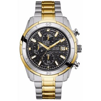 GUESS W0746G3 - Chronograph - Jam Tangan Pria - Bahan Tali Stainless Steel - Silver - Gold Line