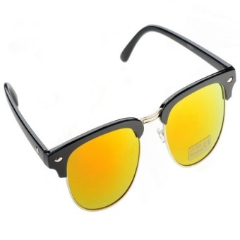 Half Gold Frame Style Sunglasses Vintage Retro Unisex Sunglasses(Yellow)