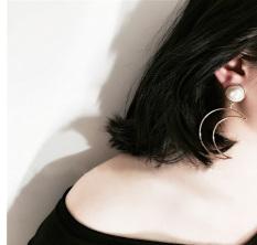 Harajuku Korea Fashion Style logam mutiara dibesar-besarkan besar anting- anting mutiara anting-