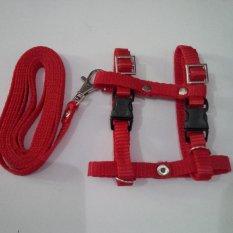 Harness H uk S + Leash Merah untuk Kucing, Kelinci, Musang, Puppy Small breed
