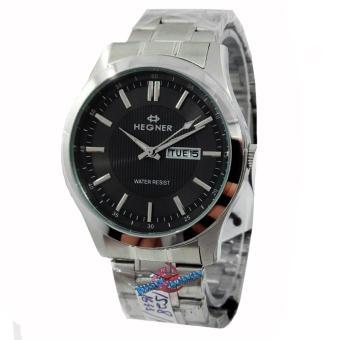 Hegner - H1528M - Jam Tangan Pria - Strap Stainless Steel - Silver Hitam