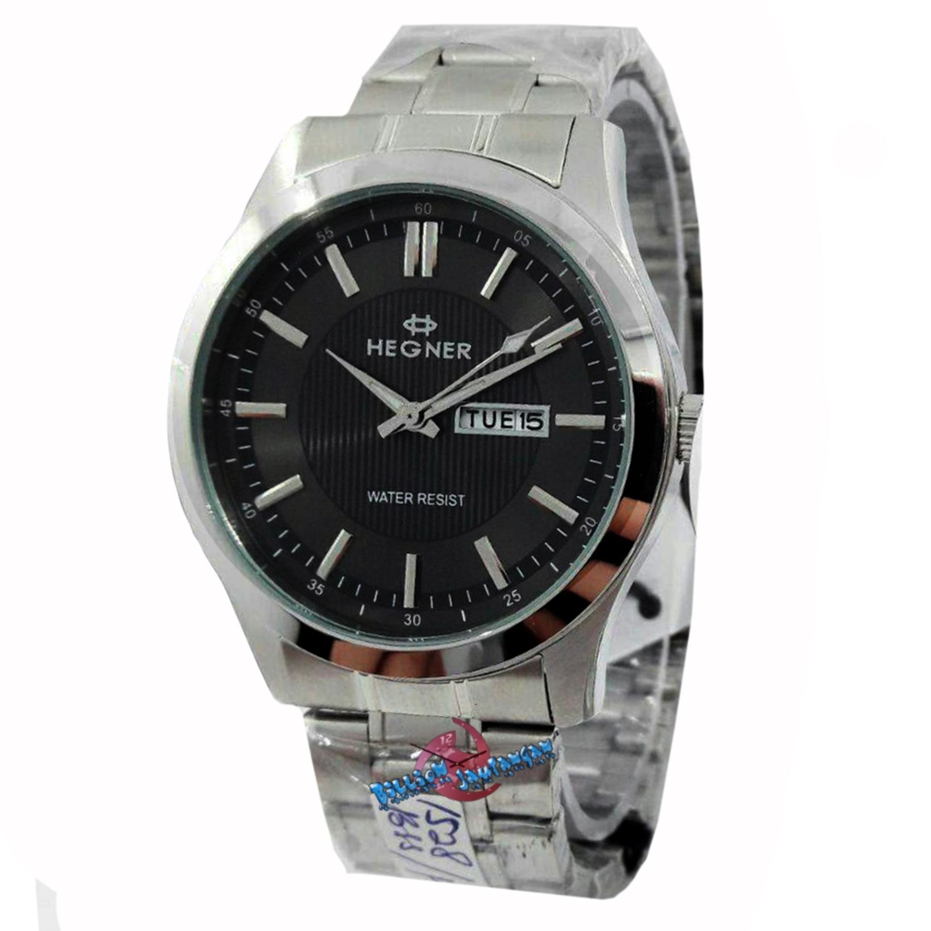 ... Hegner - H1528M - Jam Tangan Pria - Strap Stainless Steel - SilverHitam ...
