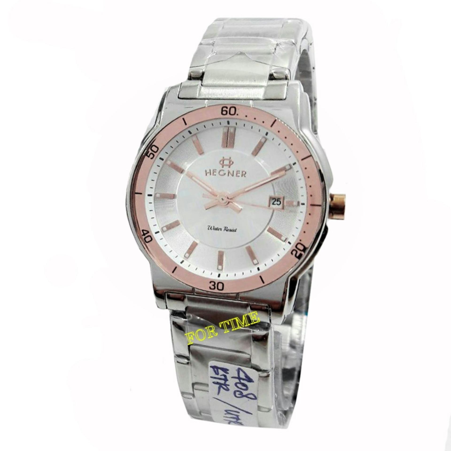 Hegner- H408L - Jam Tangan wanita - Stainless Steel - silver rose .
