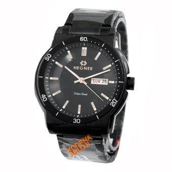 Hegner- H408M - Jam Tangan Pria - Stainless Steel - hitam rose