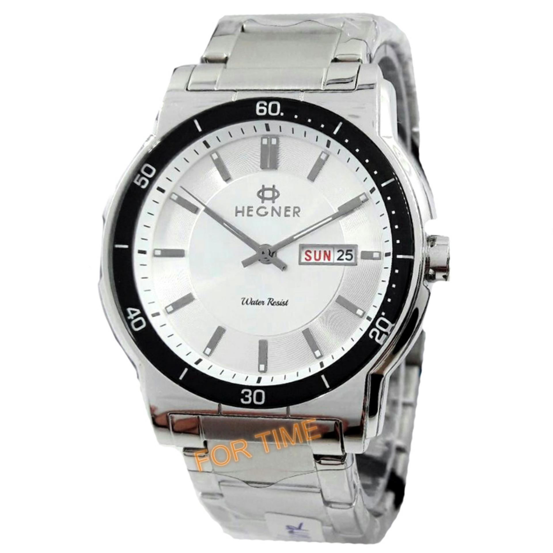 Hegner- H408M - Jam Tangan Pria - Stainless Steel - silver putih .