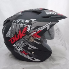Helm 2 kaca double visor Duke black doff red