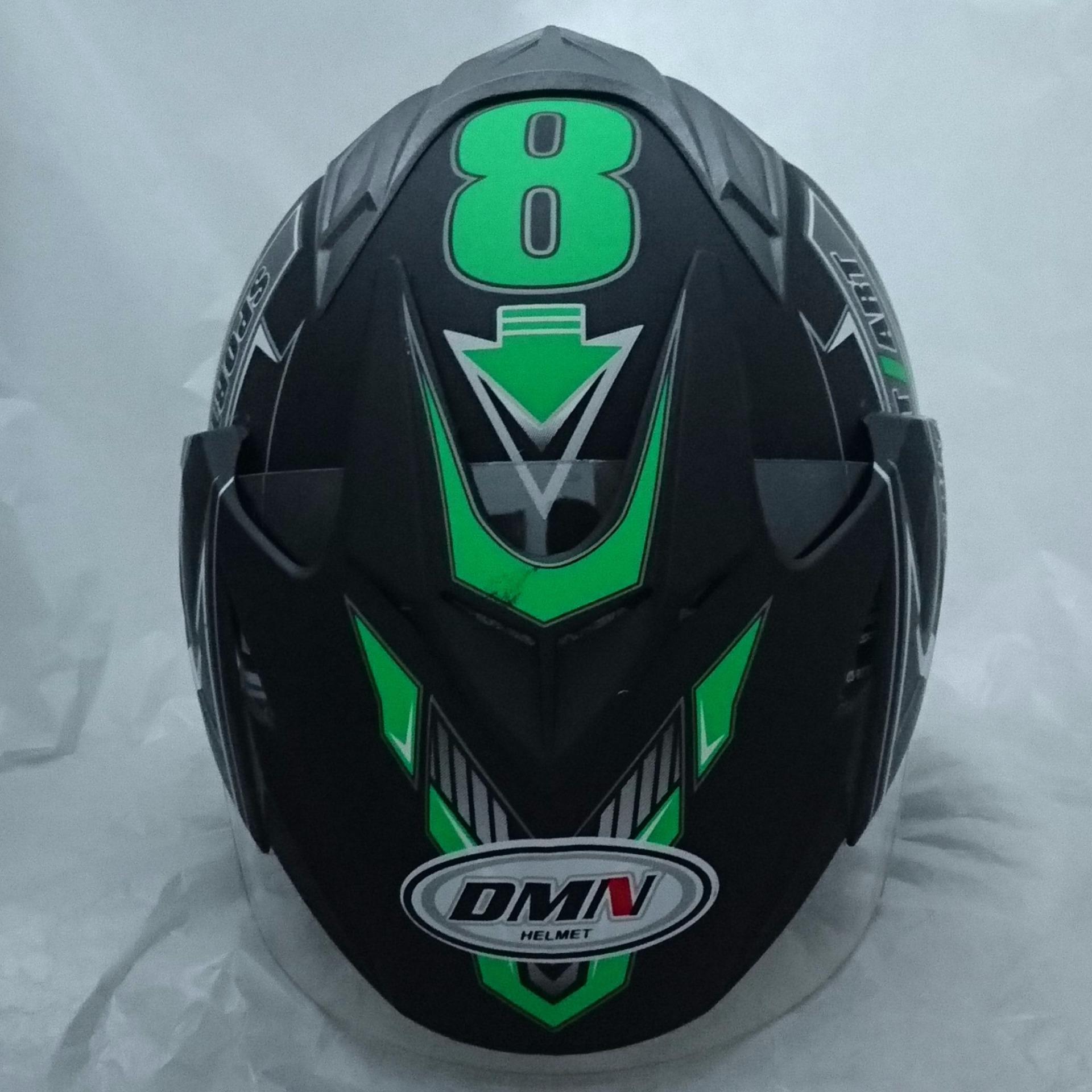 Helm 2 kaca double visor Sport Black doff green .