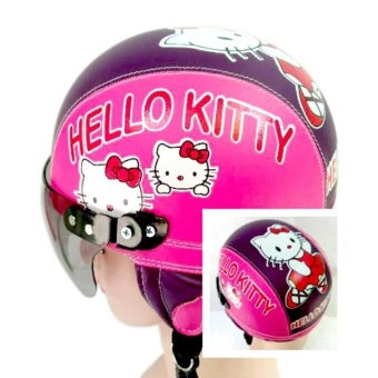Gambar Helm anak Retro Lucu motif Kucing lucu 1 5 thn Ungu tua Pink