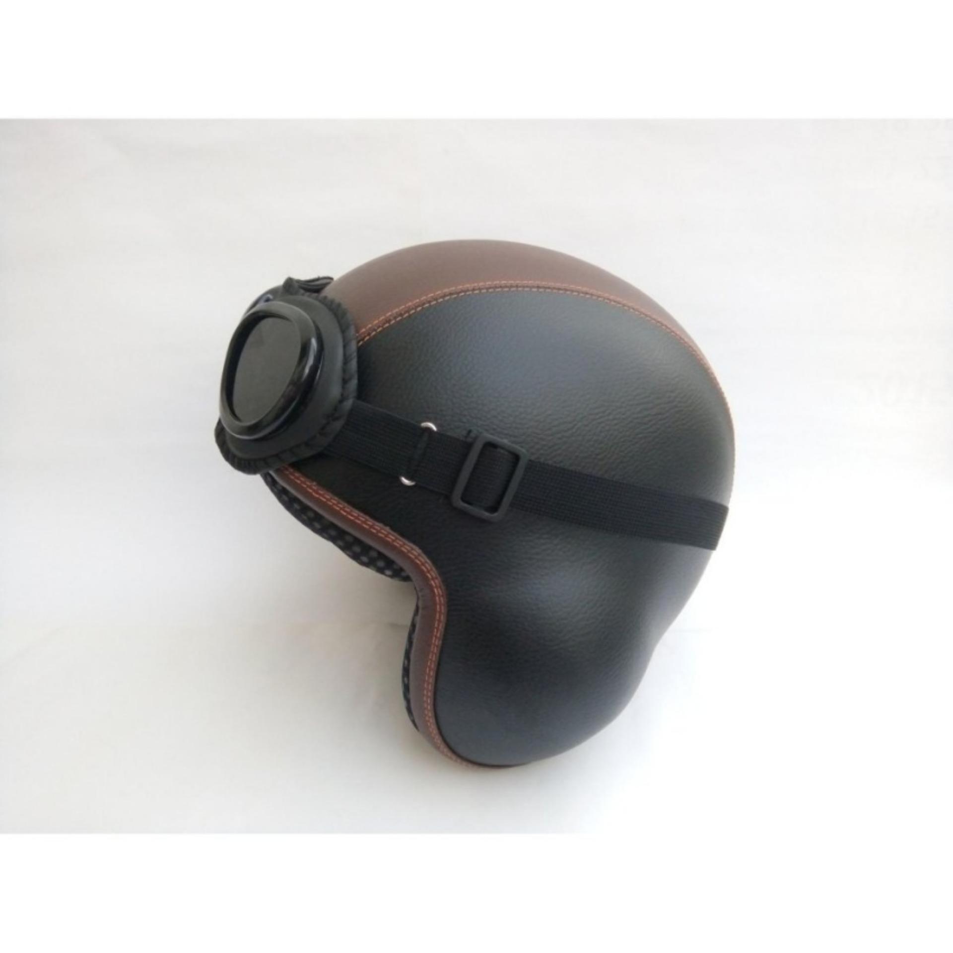 ... Helm Baru Broco Pilot Kacamata Retro Dewasa - Hitam Mix Coklat ...
